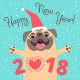 Happy 2018 New Year card. Funny pug congratulates on holiday.. Dog Chinese zodiac symbol of the year. Vector illustration Stock Photo
