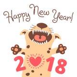 Happy 2018 New Year card. Funny puppy congratulates on holiday.  Stock Photo