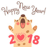 Happy 2018 New Year card. Funny puppy congratulates on holiday.  Stock Photos
