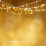 Happy New Year 2016 card with garland of glittering lights and party flags,  Royalty Free Stock Photos