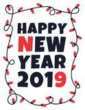 Happy 2019 new year card with garland Royalty Free Stock Image