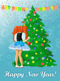 Happy New Year card with girl. Little girl near the New Year's tree Royalty Free Illustration