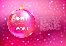 Happy New Year Card with glass ball Stock Photography