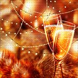 Happy New Year Card with glasses of champagne. Holiday golden background and glasses of champagne Royalty Free Stock Images