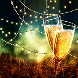 Happy New Year Card with glasses of champagne. Holiday golden background and glasses of champagne Stock Images