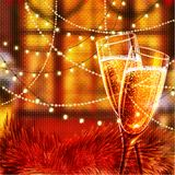 Happy New Year Card with glasses of champagne. Holiday golden background and glasses of champagne Royalty Free Stock Photo