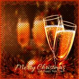 Happy New Year Card with glasses of wine. Holiday golden background and glasses of wine Stock Photography
