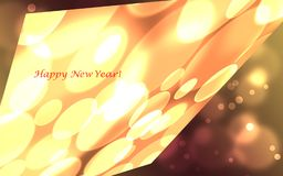 Happy New Year card. With glowing circles and ovals stock illustration