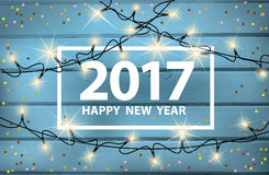 Happy New Year card with glowing lights and confetti Stock Photo