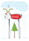 HAppy New Year card with goat. Happy New Year illustration with goat.Vector funny card vector illustration
