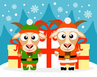 Happy New Year card with goat santa claus and goat elf. Vector stock illustration