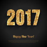 Happy New Year Card with Gold Shiny 2017 Numbers Stock Image