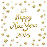 Happy New Year Card 2016. gold snowflake Vector illustration. Royalty Free Stock Images