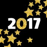 Happy New Year 2017 card with gold star on black background. Art vector illustration Stock Image