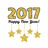Happy New Year 2017 card with gold star isolated on white background. Stock Photography