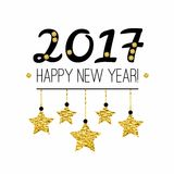 Happy New Year 2017 card with gold stars isolated on white background. Royalty Free Stock Photos