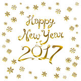 Happy new year card. Gold template over black background with golden sparks. Happy new year 2017. Template for your design. Vector. Illustration. art Stock Photos