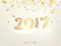 Happy new year 2017. Happy new year card. Gold template over gray background with golden sparks. Happy new year 2017. Gray space abstraction. Fallen sparks and Stock Photography