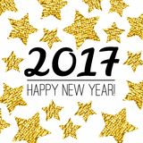 Happy New Year 2017 card with gold textured star isolated on white background. Stock Images