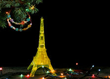 Happy New Year card with Gold yellow Model of the Eiffel tower in Paris Royalty Free Stock Images