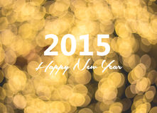Happy new year card, golden bokeh background Stock Photo