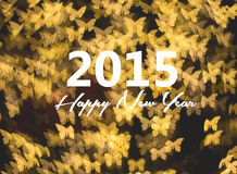 Happy new year card, golden butterfly background Stock Photography