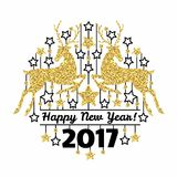 Happy new year card with golden deer silhouettes and stars in circle. Isolated on white background. Art vector illustration Royalty Free Stock Image