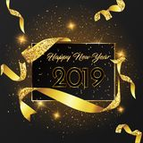 Happy New Year 2019 card Golden design. stock illustration