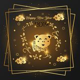 Happy New Year 2019 card Golden design. vector illustration