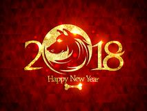 2018 Happy new year card with golden dog silhouette Stock Photography