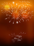 Happy New Year card with golden fireworks. Happy New Year  card with golden fireworks Royalty Free Stock Image