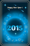 Happy New Year 2015. Happy new year card (2015) with golden snowflakes and bubbles on shiny deep blue background - available as vector and jpg-file Stock Image