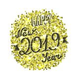 Happy new 2019 year card, golden sparkles and hand written lettering royalty free illustration