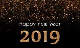 2019 Happy New Year card with golden, sparkling glitter falling on 2019 numbers royalty free stock photography
