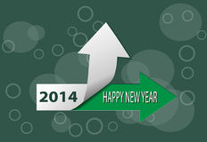 Happy New Year 2014 card. Happy New Year 2014 green card royalty free illustration