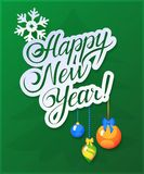 Happy New Year Card on green background. And toys royalty free illustration