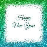 Happy New Year Card, green blue glitter frame on white background. Vector Stock Photography