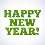 Happy new year card - green grass. Illustration Stock Photography
