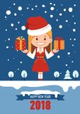 Happy New Year 2018 card. Greeting card with Santa Clause girl. Girl in Christmas Santa outfit. Santa with gift boxes Stock Photography