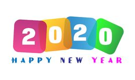 Happy New Year 2020 card and greeting text design. In ai10 additional vector for  design Stock Image