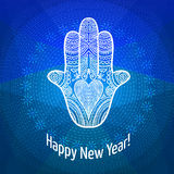 Happy New Year card. Hamsa (Fatima hand) on abstarct background. Happy New Year card. Vector illustration royalty free illustration