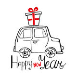 Happy New Year Card with hand drawn car. Happy New Year Card with hand drawn minicar, present and lettering Stock Illustration