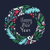 Happy New Year card. Hand drawn illustration with Christmas wreath Royalty Free Stock Photography