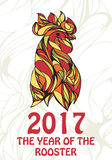 Happy New Year -  card with hand-drawn rooster Royalty Free Stock Images