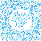 Happy new year card. Hand lettering vector  Royalty Free Stock Photos