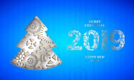 Happy new year card. Happy new year card with fir tree made from gears over blue background. Vector illustration royalty free illustration
