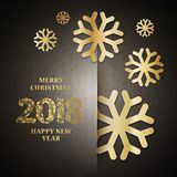 Happy new year card. Gold template over black background with golden snow. Happy new year 2018. Template for your design. Vector illustration Stock Photos