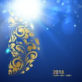 Happy new year card. Happy new year card with a golden hemisphere from various flower swirls over deep blue sea background. Vector illustration Stock Images