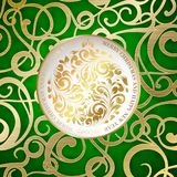 Happy new year card. Happy new year card with a golden toy from various flower swirls over fantasy green background. Vector illustration Stock Images