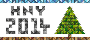 Happy new year 2014 card. HNY 2014 card made of triangles with Christmas tree in the same style Royalty Free Stock Image